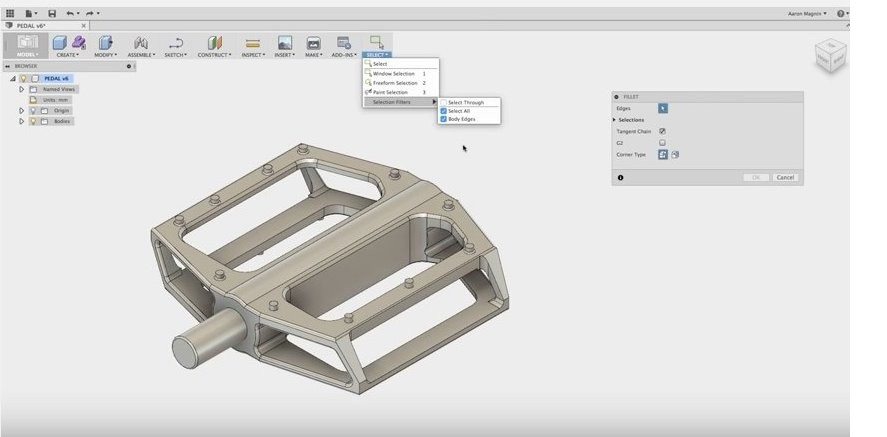 fusion360 changing selections